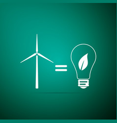Wind turbine and light bulb with leaves icon vector