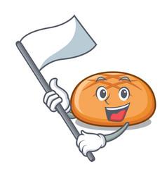with flag hamburger bun mascot cartoon vector image
