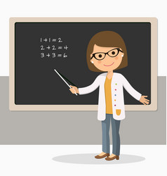 young female teacher on math lesson at blackboard vector image