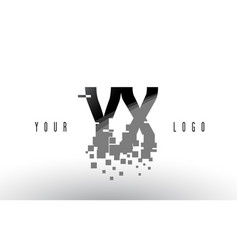 Yx y x pixel letter logo with digital shattered vector