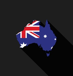 Australia flag map flat design vector image vector image
