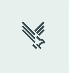 bird in flight fauna sign logos design art style vector image