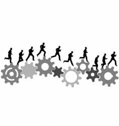 business man runs on gears vector image