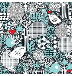 Pattern with snow birds hearts and flowers vector image vector image