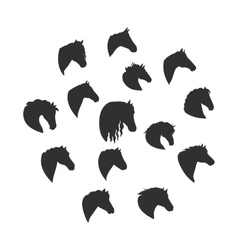 Set of Silhouettes of Horse Heads vector image