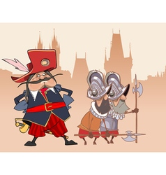 cartoon funny soldier the Musketeer and the guards vector image vector image