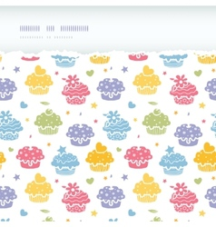 Colorful cupcake party horizontal torn seamless vector image