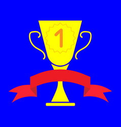 cup winner sign with ribbon 2803 vector image vector image