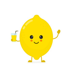 cute smiling happy lemon with a glass vector image