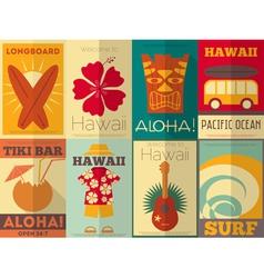 Hawaii Surf Retro Posters vector image vector image