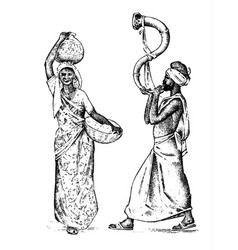 hindu working in india engraved hand drawn in old vector image