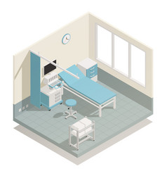 hospital medical equipment isometric composition vector image