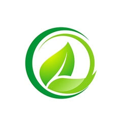 leaf organic bio logo vector image