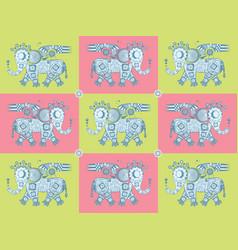 Mechanical iron elephant pattern vector