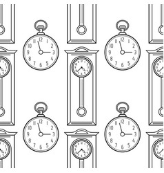 pocket watches and grandfather clock flat linear vector image