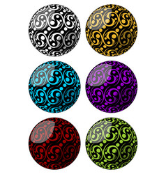 set of spheres with swirly pattern decoration in vector image