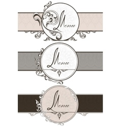 Set vintage ornamental ribbons vector image