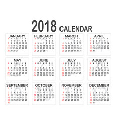 simple 2018 year calendar on white background vector image