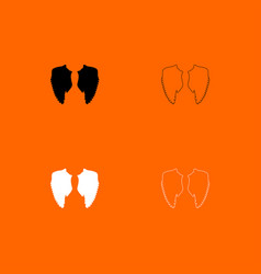 wings black and white set icons vector image vector image