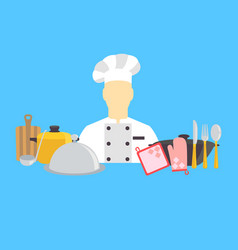 cook and kitchenware icons vector image vector image