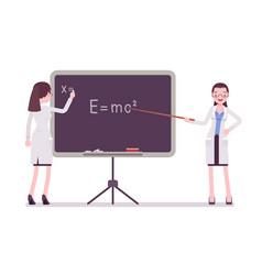 Female scientist at the blackboard vector