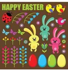 Set of easter eggs animals and flowers vector image vector image