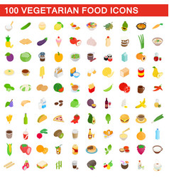 100 vegetarian food icons set isometric 3d style vector image