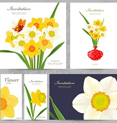 collection greeting cards with spring flowers for vector image vector image