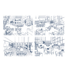 collection of monochrome drawings of cafe vector image