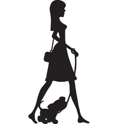 Lady Walking Puppy Silhouette vector image