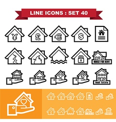 Real Estate line icons set 40 vector image vector image