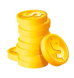 Stack Dollar Gold Coins vector image vector image
