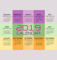2019 calendar red black text number on color vector image