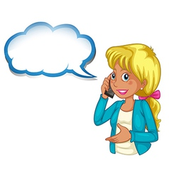 A woman using a phone with an empty cloud template vector image