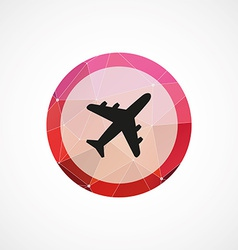 airplane circle pink triangle background icon vector image