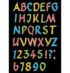 Alphabet letters with numbers in retro style vector