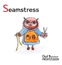 Alphabet professions Owl Letter S - Seamstress vector