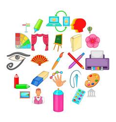 Art workshop icons set cartoon style vector