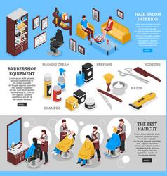 barbershop horizontal banners vector image