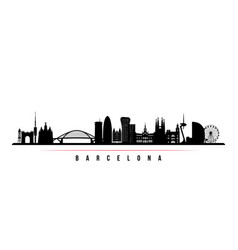 barcelona city skyline horizontal banner vector image