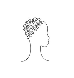 beautiful african girl face in profile with curly vector image