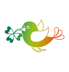 Bird flying with clover in beak vector