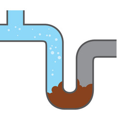 Blocked water pipe - clog icon vector
