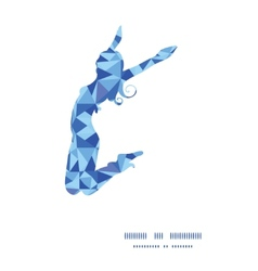 Blue triangle texture jumping girl silhouette vector