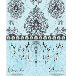 blue vintage invitation floral card vector image