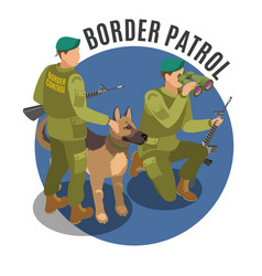 Border patrol isometric composition vector