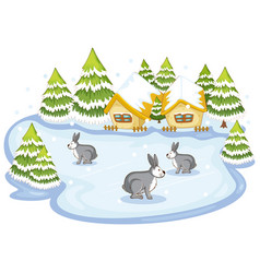 Bunnies in front on houses vector