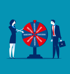 Business team and result wheel fortune vector