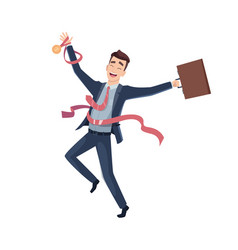 business victory happy businessman character big vector image