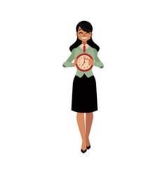 business woman time clock deadline concept vector image